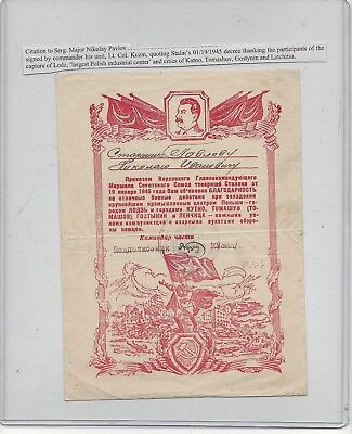 1945 Russian Citation To Serg. Major Nikolay Pavlov For The Capture of Lodz &