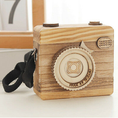Wooden Music Box Engraved Retro Camera Styling Interesting Gift Toys Kid NEW GH5