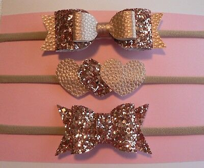 Set Of 3 Rose Gold Newborn/Baby/Toddler/Girl Faux Leather/Glitter Headbands