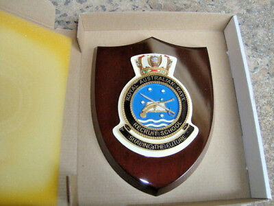 "Naval Crest ""ROYAL AUST NAVY RECRUIT SCHOOL,"" mounted on Wooden Shield FREE POST"