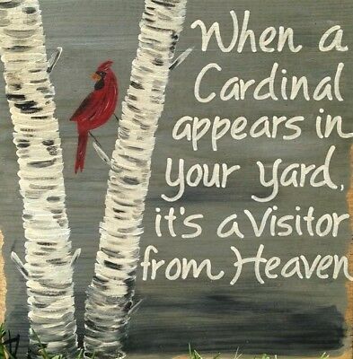 Rustic Primitive Cardinal Heaven Visitor wood box sign country Christmas Decor