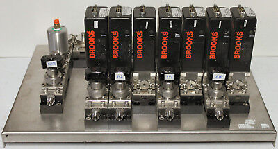 Brooks 5850S Mass Flow Controller Gas Panel N2, O2, Air, Solenoids, Valves, MFC