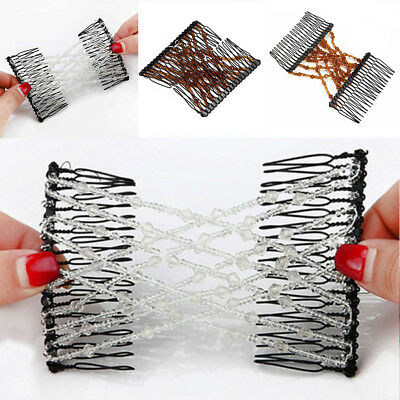 Magic Hair Stretchable Hairpin Slide Double Beads Women Stretchy Hair Comb Prope
