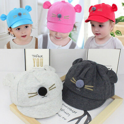 Baby Toddler Boy Girls Summer Cotton Hats Striped Baseball Cap Beret Sun Hat AU