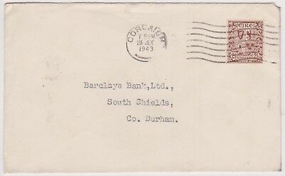 (K110-89) 1943 Ireland 2 1/2d letter to Barclay's bank Durham (BS)
