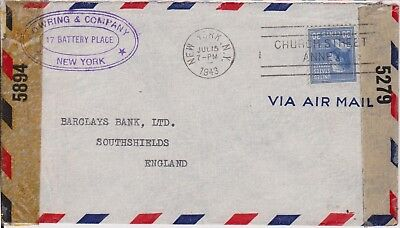 (K110-113) 1943 USA 30c letter to Barclay's bank of England (CR)