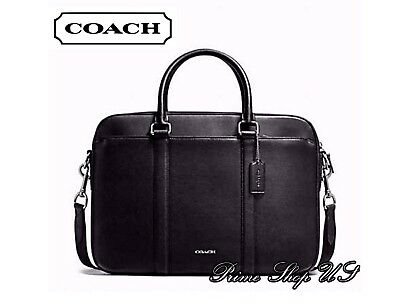 3c9727119d67 NWT COACH F59057 - Perry Slim Brief in Crossgrain Leather - Black MSRP    595 -  199.99