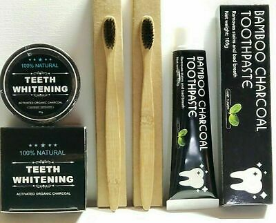 Black Diamond CHARCOAL TEETH WHITENING POWDER +Toothpaste +Toothbrush 3in1 Combo