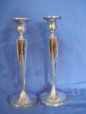 """STERLING SILVER Empire Candlesticks PAIR Weighted SIGNED 10"""""""
