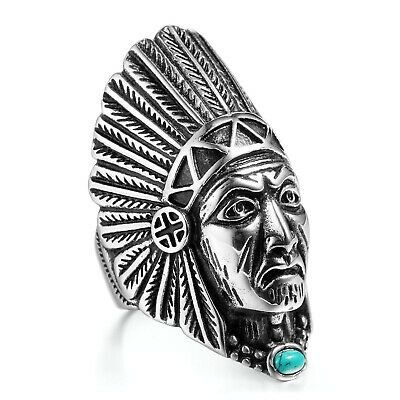 MENDINO Men's Stainless Steel Ring Tribal Indian Chief Head Feather Turquoise