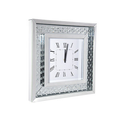 Crystal Bevelled Mirrored Glass Square WallClock Home Wall Clocks 50x50cm Silver