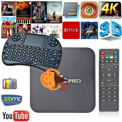 MXQ Pro  Smart TV Box Streamer HD 4K Android 7.1 RK3229 Quad Core+ WIFI Keyboard