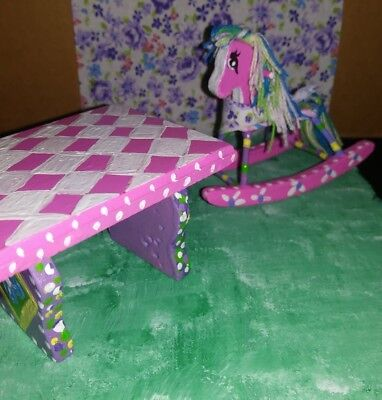Miniature Dollhouse Furniture,Hand Painted,Table,Rocking Horse,Childs Room