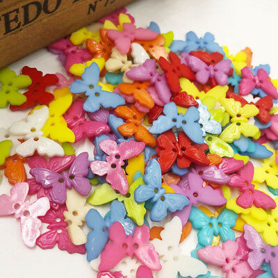 100pcs Mix Butterfly Plastic Buttons 22mm Sewing Craft 2 Hole PT108
