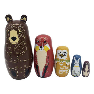 5 Layers Nesting Dolls Wooden Bear Hand Painted Russian Matryoshka Toy Kids Gift