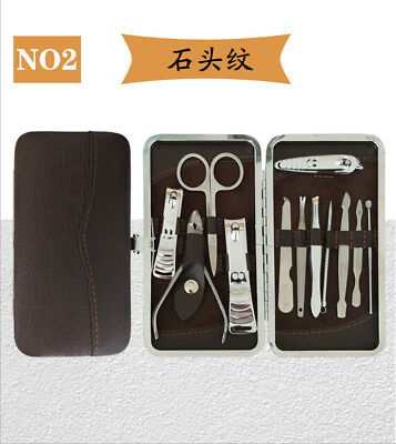 Manicure Pedicure Set Finger Toe Nail Clippers Scissors Grooming Kit with box