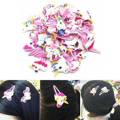1~12Pcs Cute Unicorn Hair Clip Hairpins For Kids Baby Girl Accessories Xmas Gift