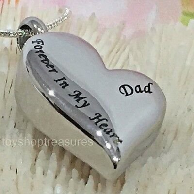 Dad Forever in my Heart Memorial Keepsake Cremation Urn Pendant Necklace
