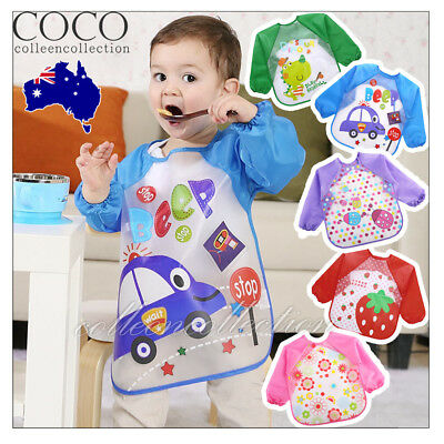 Kids Baby Bibs Apron Long Sleeve Art Smock Feeding Toddler Apron Waterproof AU
