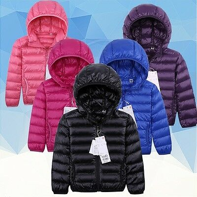 UNIQLO'S style down coat Children's Ultralight Hooded Down Jacket Puffer Parka##
