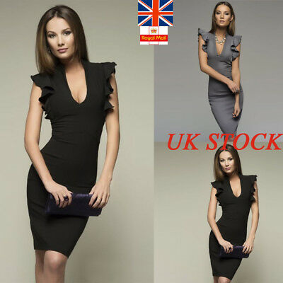 UK Womens Frill Sleeve Pencil Dress Ladies Plunge Neck Bodycon Sexy Formal Party