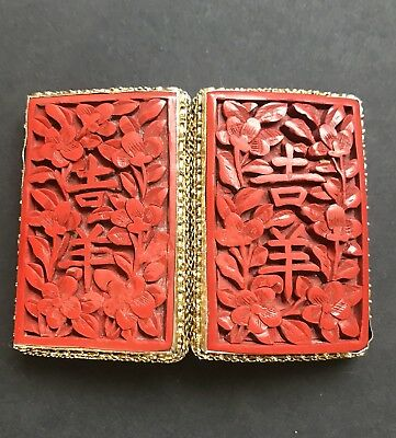 Antique Chinese Silver Gilt Buckle With Cinnabar Decoration ~ Marked Silver