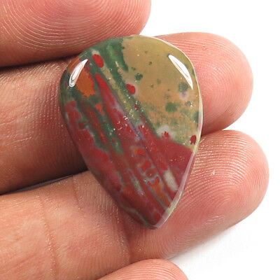 Loose Gemstone 100% Natural BLOODSTONE Pear Cabochon 17.20 Cts 26x19 mm