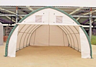20x30x12 Canvas Fabric Building Shelter w/ Metal Frame C&er Boat Storage NEW & 20X30X12 CANVAS FABRIC Building Shelter Carport Boat Storage Barn ...