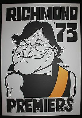 1973 Richmond Premiers Weg Poster Kevin Sheedy caricature Tigers