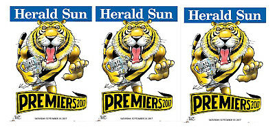 3  X 2017  Richmond Premiers Herald Knight posters Premiership Poster