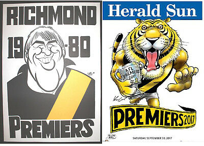 1980 and 2017  Richmond Premiers Weg Herald Knight posters Premiership Poster
