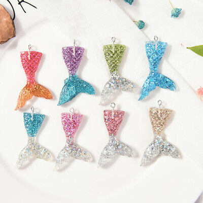 10X Mixed Glitter Mermaid Fish Tail Charm Resin Pendant Fit Bracelet//Necklace ty