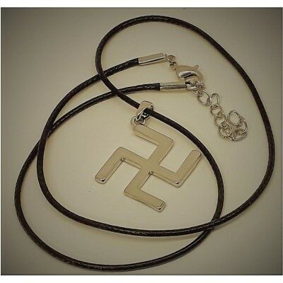 Silver Tibetan Swastika Buddhism Pendant Necklace Lucky Charm Plated Hinduism