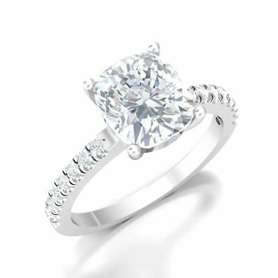 Bridal Diamond 3.20 Ct Cushion Solitaire Solid 14k White Gold Engagement Ring