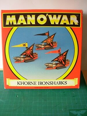 Fantasy Man o'War Khorne Iron Sharks Squadron x 3 Boxed Metal Unpainted