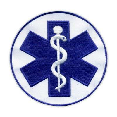 "Star of life - big 3.5"" - Paramedic Cross blue Embroidered PATCH/BADGE"