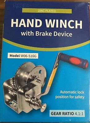 Hand Winch With Brake Device 4.1:1, Model: W06-516G, Auto Lock, New In Box