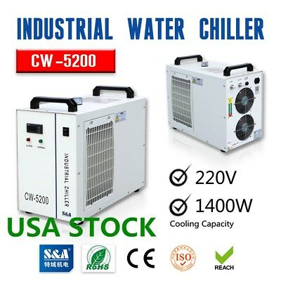 US Stock-S&A CW-5200BH Industrial Water Chiller for One 8KW Spindle 220V, 60Hz