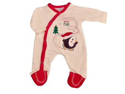 BNWT Tiny Baby unisex Christmas velour penguin sleepsuit Clothes NB 0-3M 3-6 M