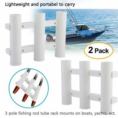 2x Fishing Rod 3 Link Tube /& 1 Tube Rod Pole Holder Boat Yacht Accessories