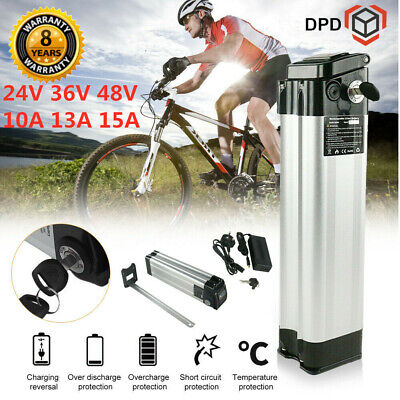36V 15Ah Li-ion Electric E-Bike Battery Pack Bicycle Silver Lockable 2A Charger