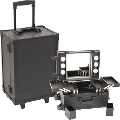 All Black Leather-Like Professional Rolling Makeup Studio Case with Lights & ...