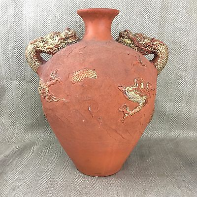 Large Chinese Terracotta Jar Twin Handled Dragon Pot Urn Antique Style