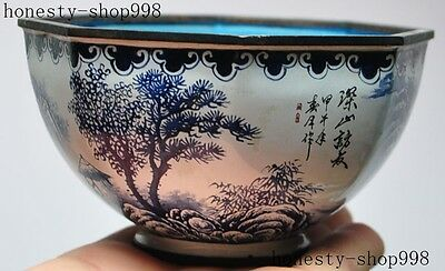 old Chinese Dynasty palace bronze Cloisonne Beautiful Landscape statue bowl cup