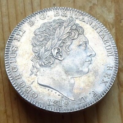 1819 Crown - George III British Milled Silver Five Shillings, LIX, no stops.