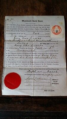 1889 Wandsworth Cemetary Burial Board - Right To Plot Document- Mary Ann Leavens