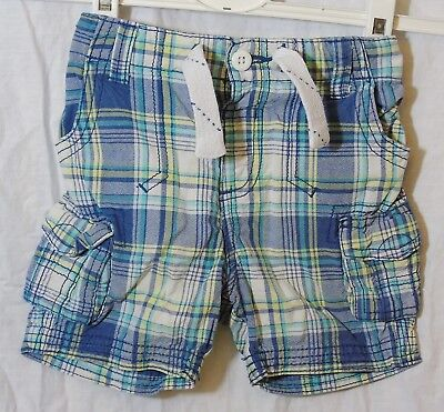 Baby Boys George Blue Green Check Board Cargo Cotton Shorts Age 18-24 Months