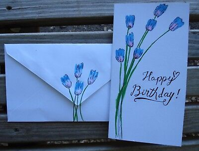 Hand Painted Birthday Card With Matching Envelope Watercolor And Ink