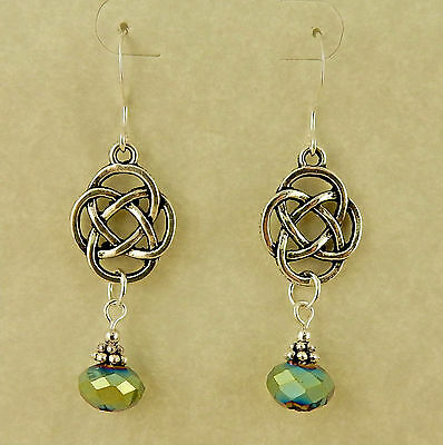 Irish, silver Celtic Knot beaded earrings with iridescent green opaque crystals