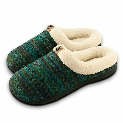 Roxoni Women's Knitted Slippers; A Warm Fleece Lined Sweater Style House Shoes